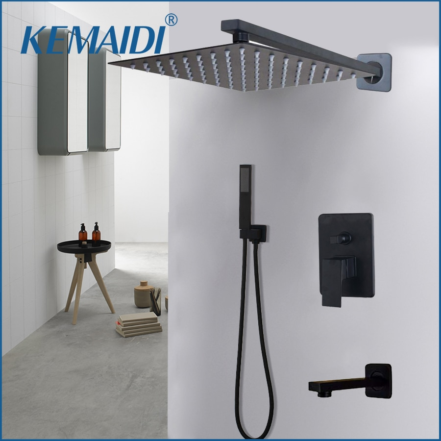 KEMAIDI cuarto de baño 2-forma LED ducha juego de grifería negro 3-Funciones 8 12 16 cabezal de ducha LED grifo mezclador W/lluvia ducha grifos