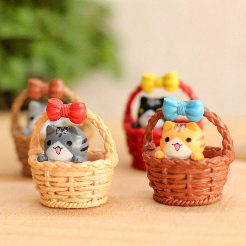 1Pcs Colorful Cat Cup Bamboo Basket Kitten Micro Landscape Cartoon Small Figurine Crafts DIY Miniature Home Decor Resin Ornament