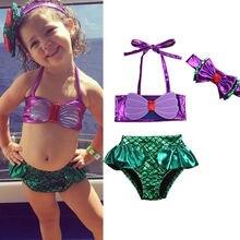 2018 3 pièces enfants bébé filles Bikini ensemble sirène maillot de bain été maillot de bain + bandeau maillots de bain licou Tankini 0-8 ans ajustement