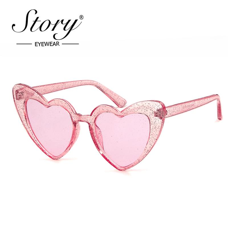 История 2018 Модные солнцезащитные очки с кристаллами и сердечками для женщин и мужчин, брендовые дизайнерские солнцезащитные очки кошачий г...