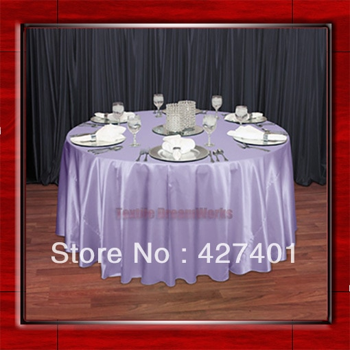 """Venta caliente manteles redondos de fiesta de boda de tela de satén de poliéster en forma de Lila/manteles de mesa (128 """"redondos)"""