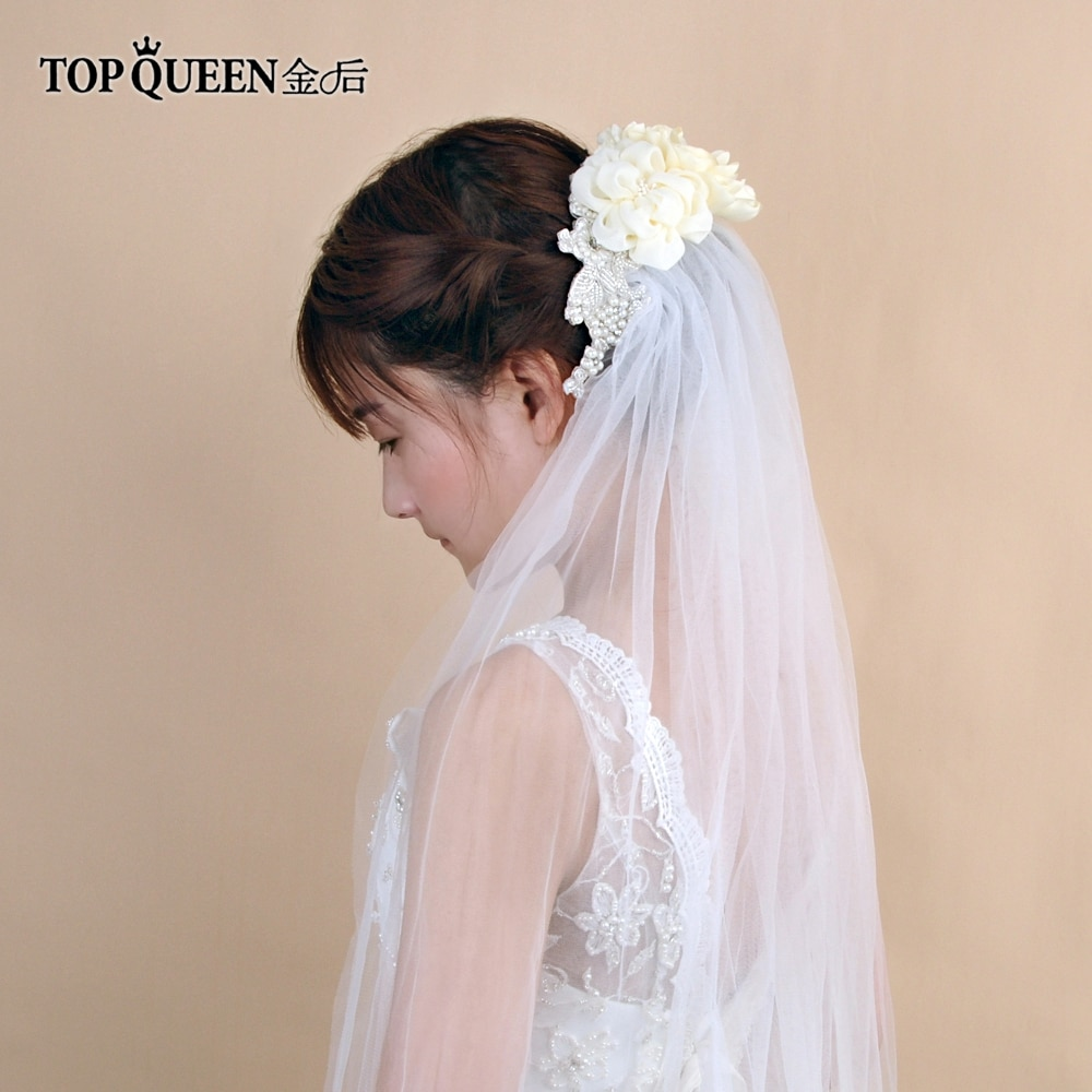 TOPQUEEN VS172 velo blanco 1,1 M Flores, velos de boda de la novia, vestido de tul, accesorios de boda para novia, velo de boda, Catedral