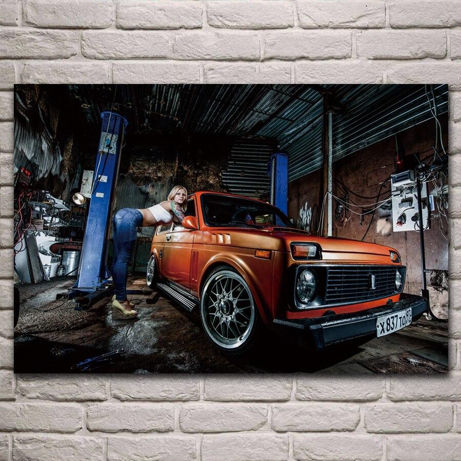 Russo niva modelo menina do carro mulher tatuagem cartaz de tecido sala estar casa parede decorativa lona seda arte impressão kj583