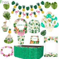 frigg hawaiian party decorations palm leaf banner balloon luau summer tropical party flamingo party supplies jungle party decor
