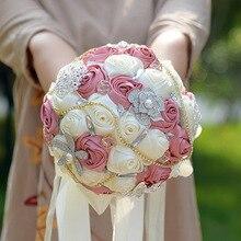 """2018 8,5 """"Blush marfil nuevo diseño de seda ramo de flores color rosa Bling broche de la boda novias dama de honor ramo Floral"""