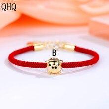 QHQ bracelets bracelets petit cochon dor rouge corde Bracelet femme année zodiaque cochon année Bracelet version de simple personnalité