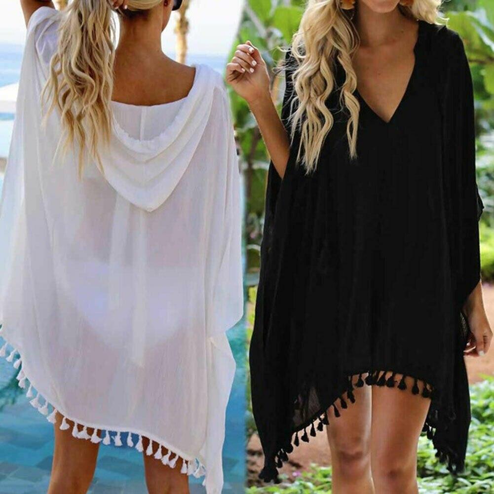 Women Tassel Swimwear Bikini Cover Up Solid Beach Dress Wear Kaftan Loose Summer Holiday Kimono Cardigan Plus Size