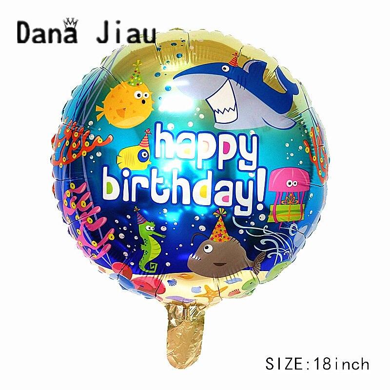 Dana jiau 18 INCH HAPPY BIRTHDAY party folie ballon ozean tier fisch shark 6 jahre alt mädchen Meerjungfrau prinzessin thema spielzeug großhandel