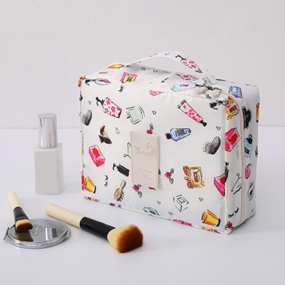 1 Uds. Portátil para mujer Neceser de maquillaje, bolsa cuadrada de almacenamiento para viaje, organizador de almacenamiento de viaje resistente al agua, multifunción