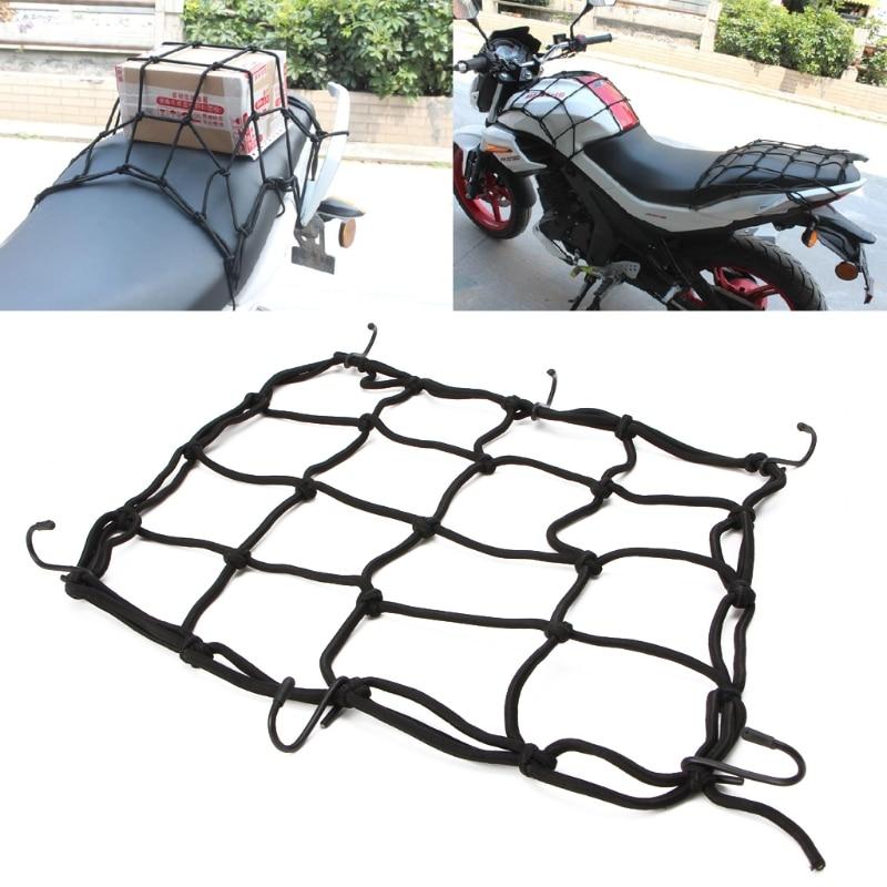 Motorcycle Luggage Net Bike 6 Hooks Hold down Fuel Tank Luggage Mesh Web Bungee Black Motorcycle Bike 6 Hooks Tank Car styling
