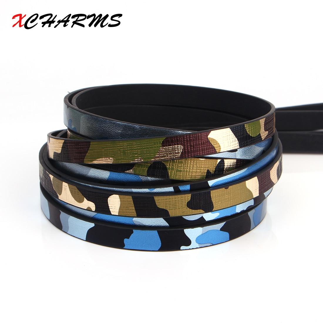 Cuerda de Cordón de cuero plano de 10MM/camuflaje/piezas de accesorios/hallazgos de joyería/hecho a mano/Fabricación de joyas/material de pulsera