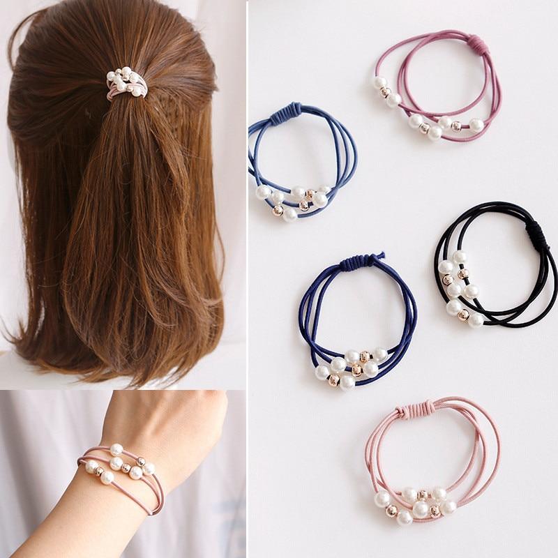 Аксессуары для волос жемчужные эластичные резинки кольца головные уборы