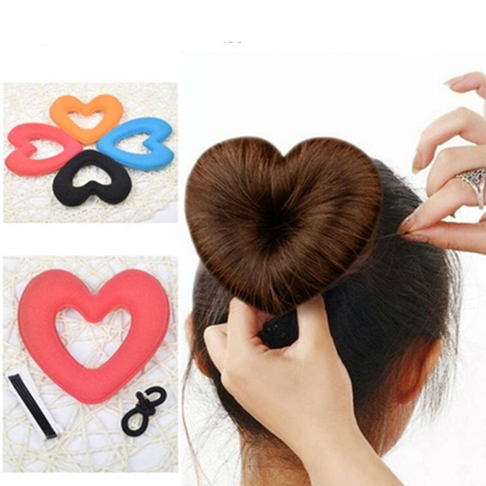 1 pc bonito coração forma tiaras ferramenta de estilo do cabelo das mulheres meninas esponja bract cabeça almôndega bolo de cabelo anel donut