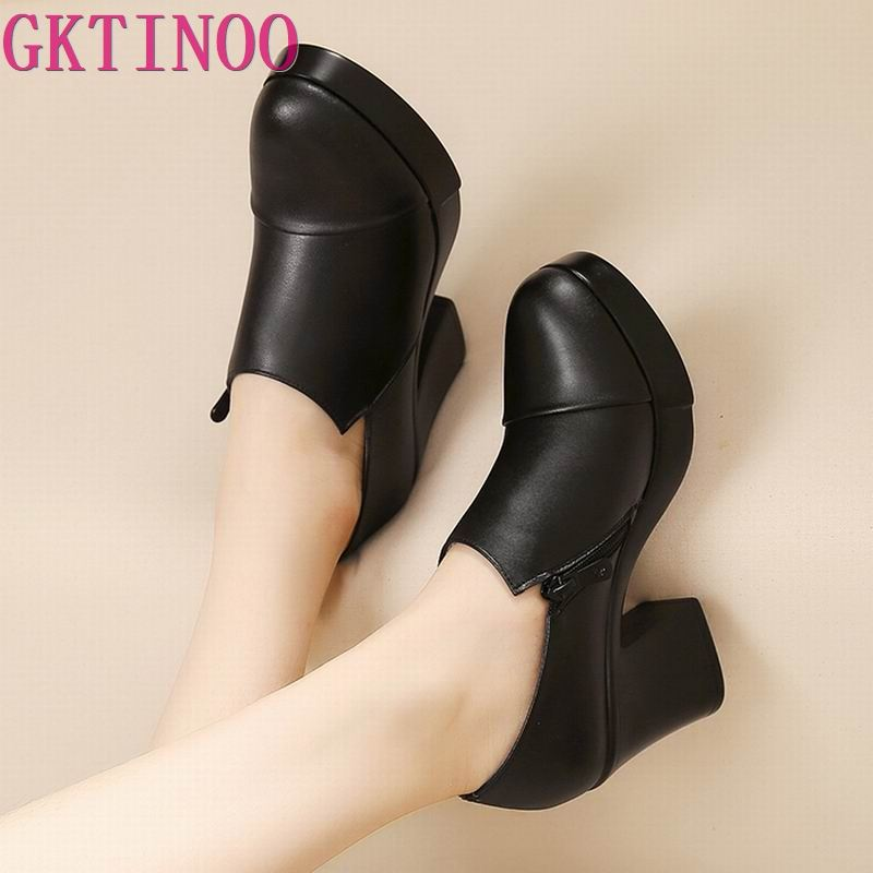 2021 المرأة أحذية الربيع والخريف سميكة عالية الكعب موضة النساء أحذية من الجلد الحقيقي الطبقة الأولى من جلد البقر منصة مضخات