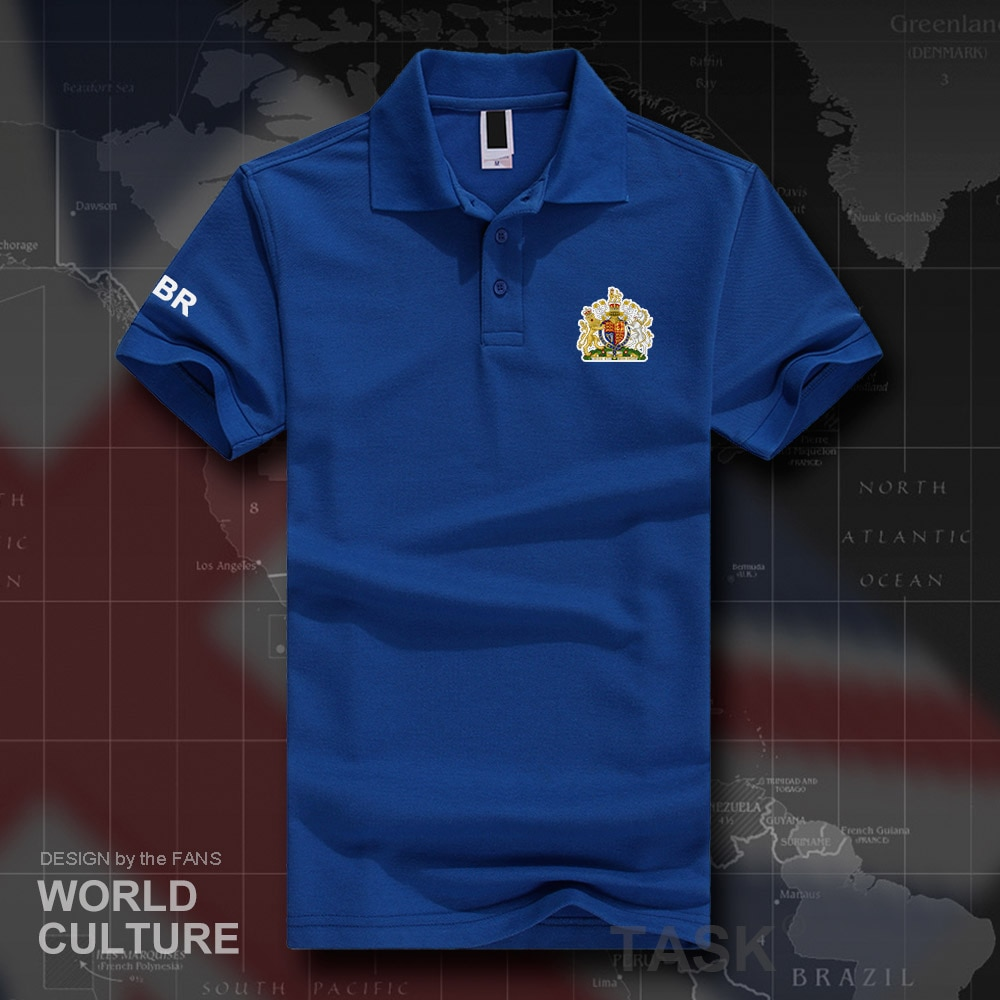 UK United Kingdom of Great Britain GBR polo shirts men short sleeve white brands printed for country 2018 cotton nation team 20