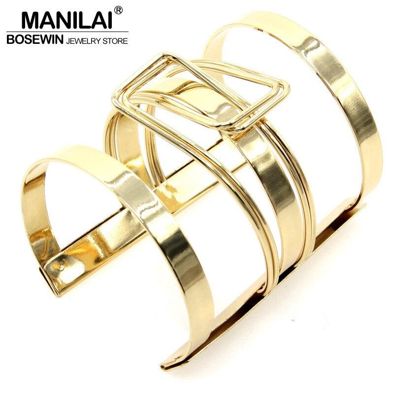 MANILAI, vestido de mujer, joyería, cierre, diseño, aleación, pulseras de puño abierto, accesorios de moda hechos a mano BL374