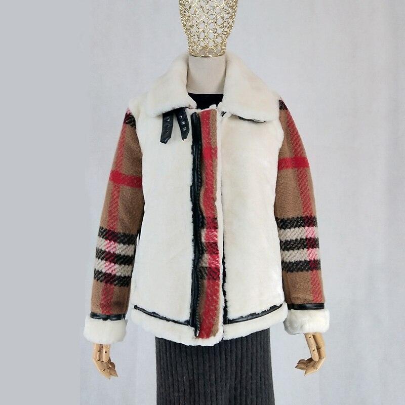 Sheep shearing coat women winter jacket real sheep fur clothing casual geniune sheepskin coats short parka wool blends sleeve