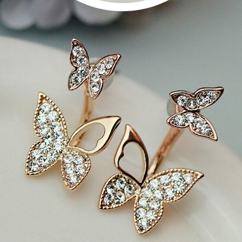 Fabricantes que venden pendientes en forma de mariposa pendientes coreanos de temperamento de moda de dos prendas joyería fina para mujeres