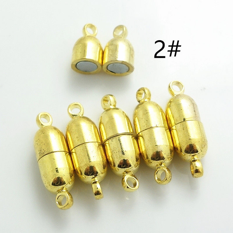 弾丸 10 ペアファッションための強力な磁気ブレスレットネックレスチェーンロジウムメッキバックルフックジュエリー 6X19mm