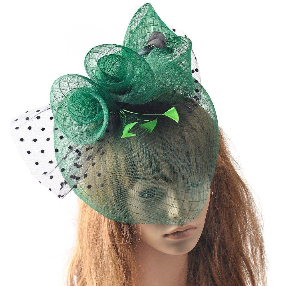Verde Cinza Faixa de Malha Floral Chapéu Fascinator Acessórios Para o Cabelo de Noiva Europeu Mulheres Do Partido Cocktail Fascinator Pena Cocar