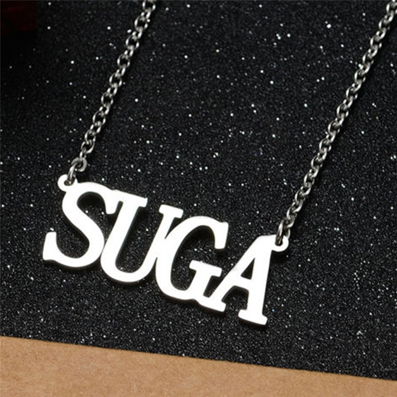 Hot KPOP Bangtan Boys Jin SUGA J-hope Jimin V RM Letters Pendant Necklace Choker Women Men Jewelry Accessories