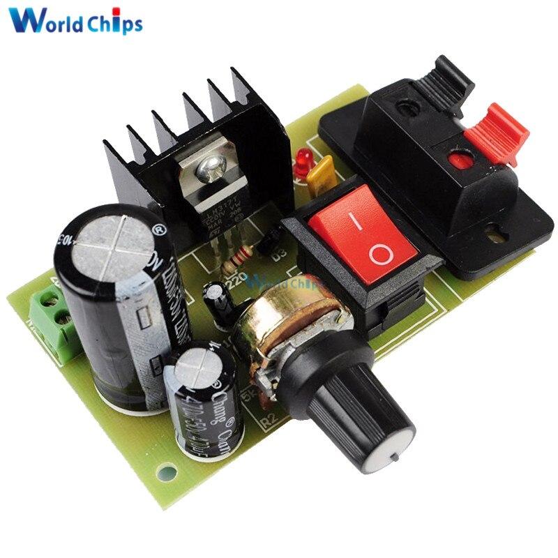 LM317 reductor DC 5 V-35 V a 1,25 V-30 V DIY Kits AC/DC fuente de alimentación Tarjeta de módulo PCB 5K resistencia ajustable con interruptor de encendido/apagado