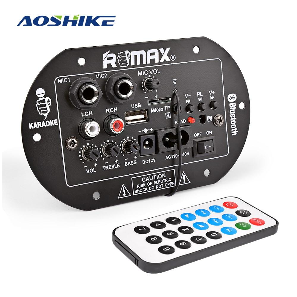AOSHIKE placa amplificadora para subwoofer 12V 220V 30W micrófono doble Bluetooth amplificador tarjeta de audio coche sistema de sonido de cine en casa