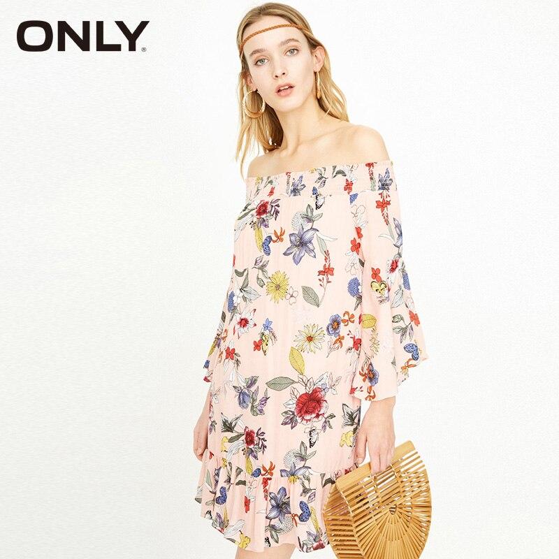 Vestido de marca ONLY 2019 de verano para mujer, vestido con volantes con mangas acampanadas y hombros descubiertos de talla grande   118107610