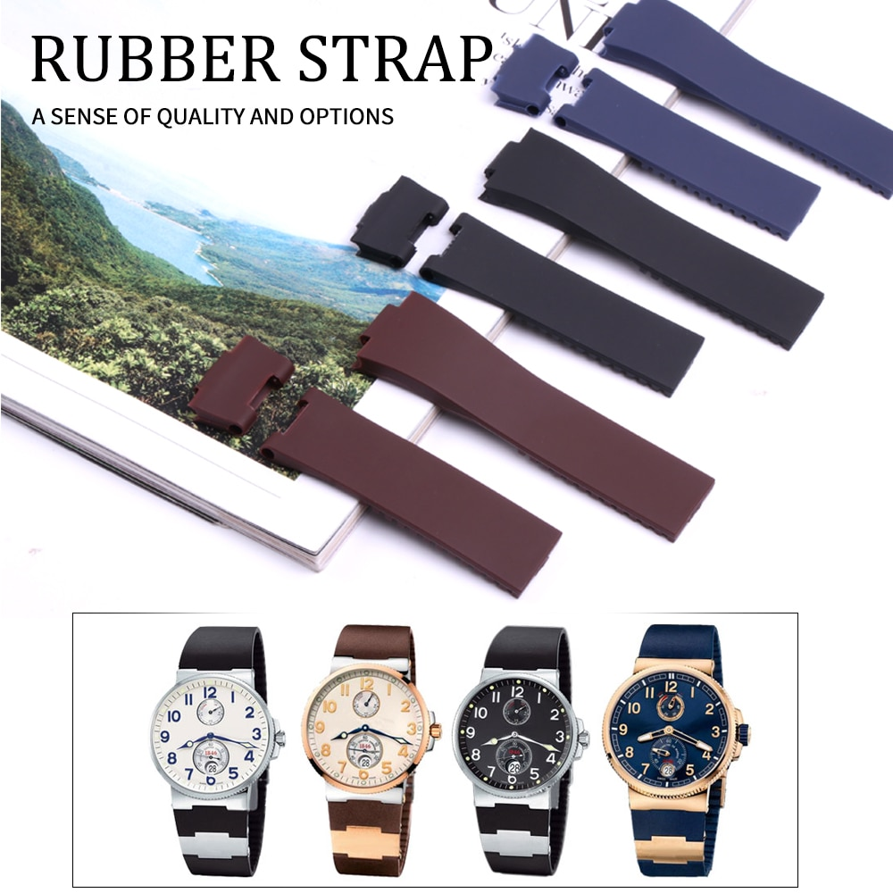 25*12mm Wholesale Black Brown Blue Waterproof Silicone Rubber Replacement Wrist Watch Band Strap Belt For Ulysse Nardin Watch carlywet 25 12mm black brown blue waterproof silicone rubber replacement wrist watch band strap belt for ulysse nardin