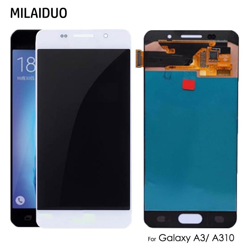 AMOLED/TFT para Samsung Galaxy A3 2016 A310 A310F SM-A310F pantalla LCD MONTAJE DE digitalizador con pantalla táctil OLED ajuste brillante