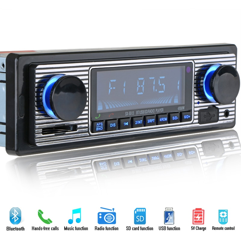 12V Bluetooth автомобильный Радио плеер стерео FM MP3 USB SD AUX аудио Авто Электроника Авторадио 1 DIN oto teypleri радио para carro