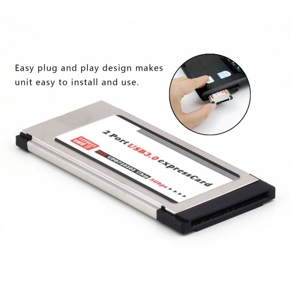 Tarjeta exprés de alta velocidad Expresscard a USB 3,0 adaptador de 2 puertos 34 mm convertidor de tarjeta Express velocidad de transferencia de 5Gbps