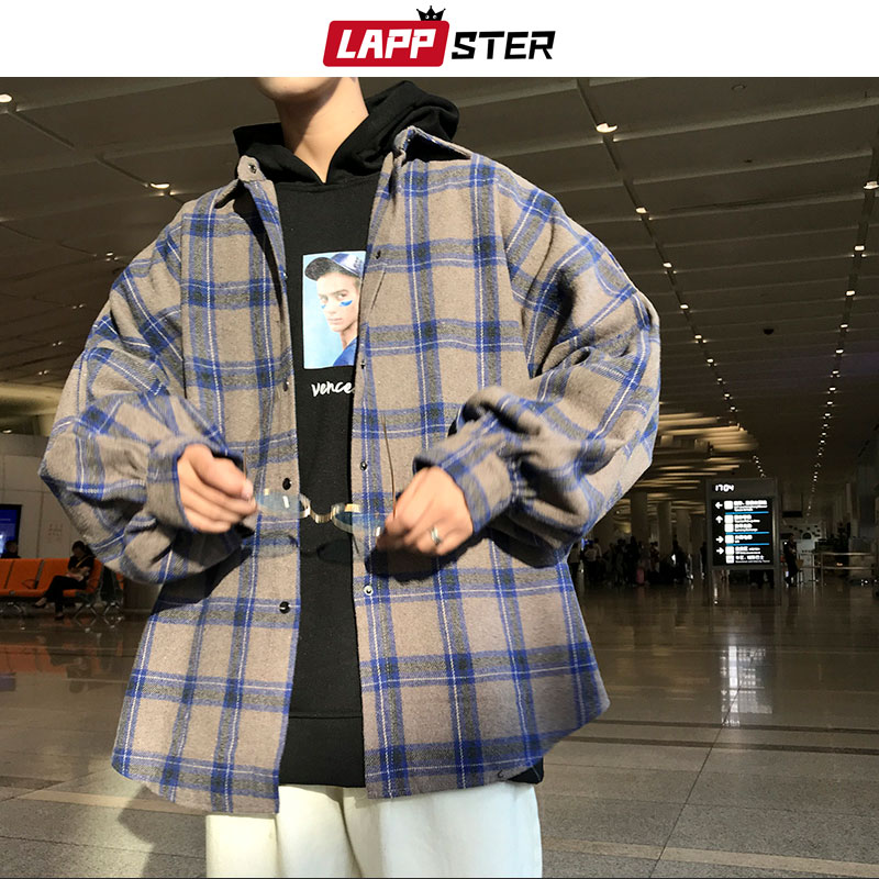 LAPPSTER Men Harajuku Color Block Plaid Shirt 2020 Mens Streetwear Thick Shirts Long Sleeve Male Vin