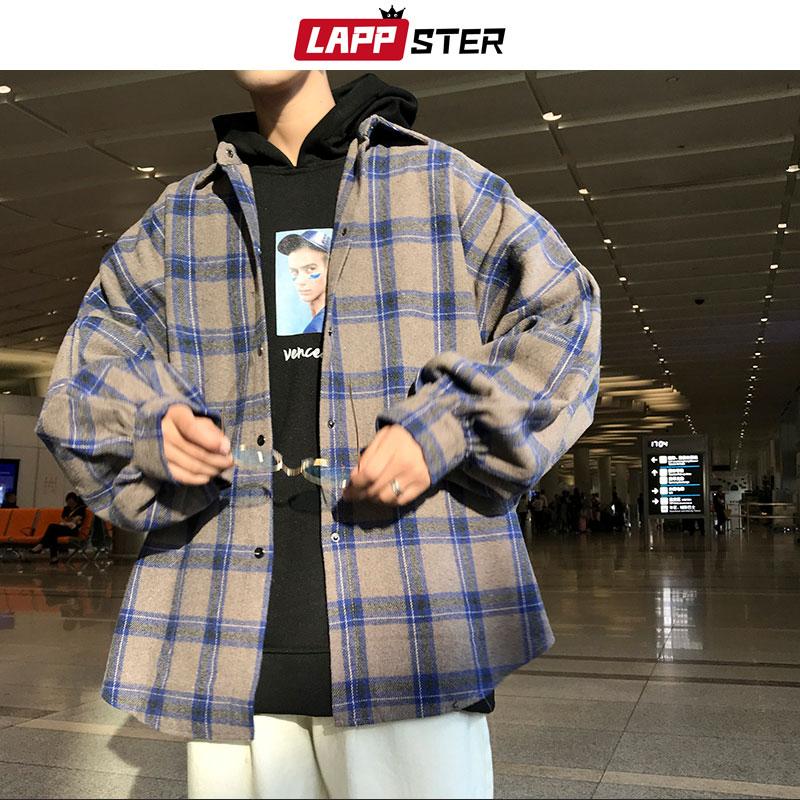 LAPPSTER Men Harajuku Color Block Plaid Shirt 2020 Mens Streetwear Thick Shirts Long Sleeve Male Vintage Korean Fashions Clothes