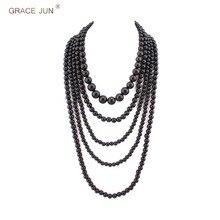 GNADE JUNI Multilayer Strang Simulierte Perle Aussage Halskette für Frauen Party Hochzeit Luxus Lange Pullover Kette Choker Halskette