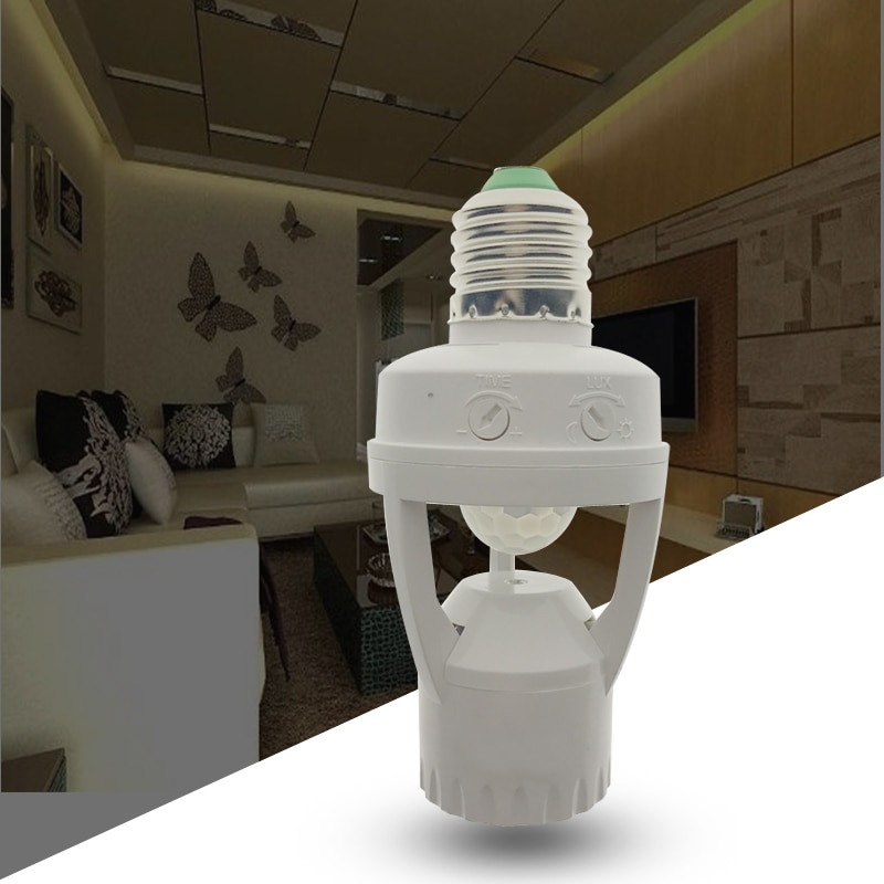 Высокая чувствительность PIR датчик движения человеческого тела светодиодный светильник с переключателем управления лампа гнездо подходит для E27 винтовой светильник