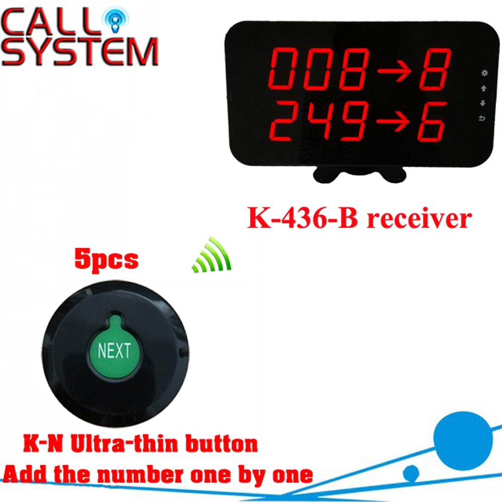 Wireless queue counter call system for kitchens restaurants with 5 K-N ultra-thin button and 1 display can show 2 groups