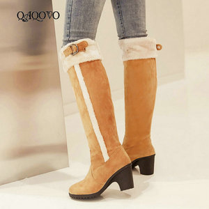 Women Winter Warm Knee High Boots Fashion Slip On Buckle Boots Comfort Round Toe Square Heel Women Boots Black Yellow Brown