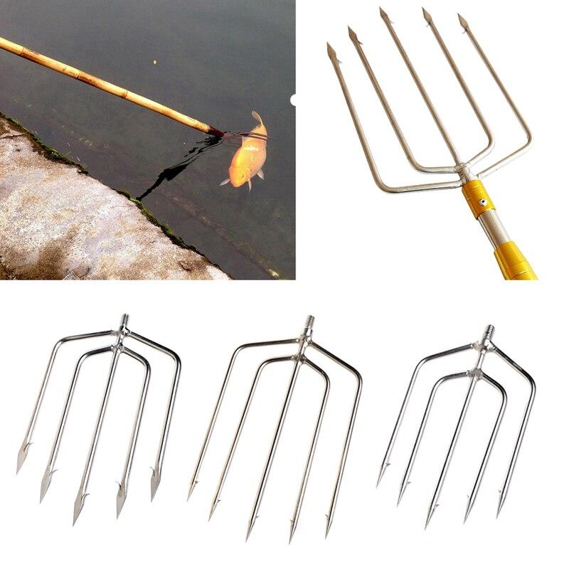 Aço inoxidável dente arpão peixe garfo pesca disjuntor de gelo acessório tackletool