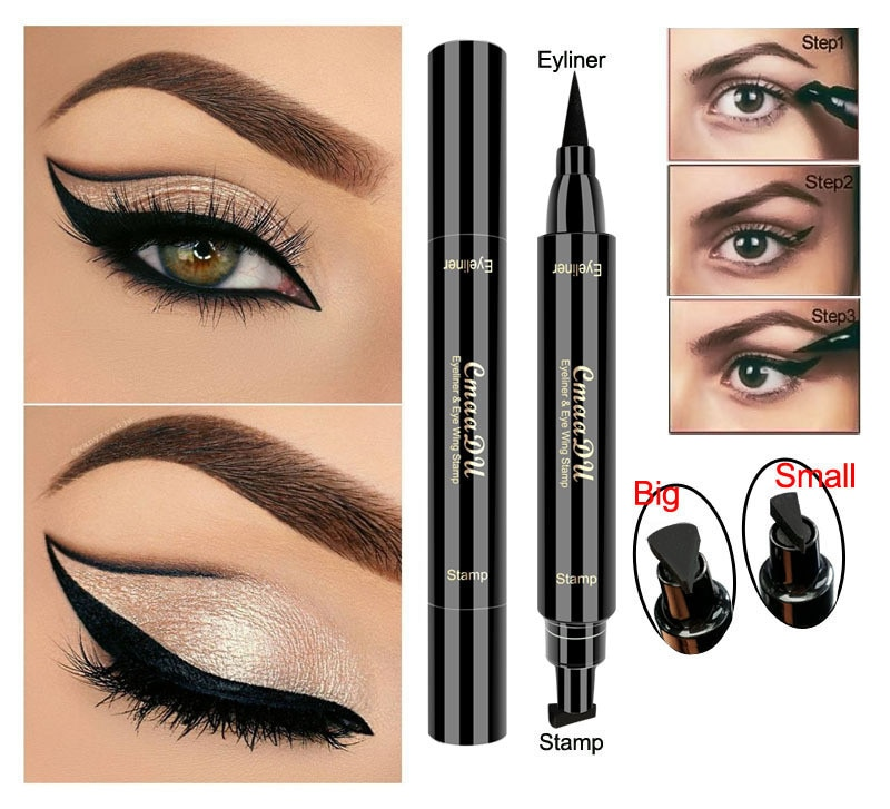 Черная жидкая подводка для глаз, маркер, карандаш, профессиональная косметика, стрелка для подводки глаз, ручка для макияжа, водостойкие трафаретные петельки