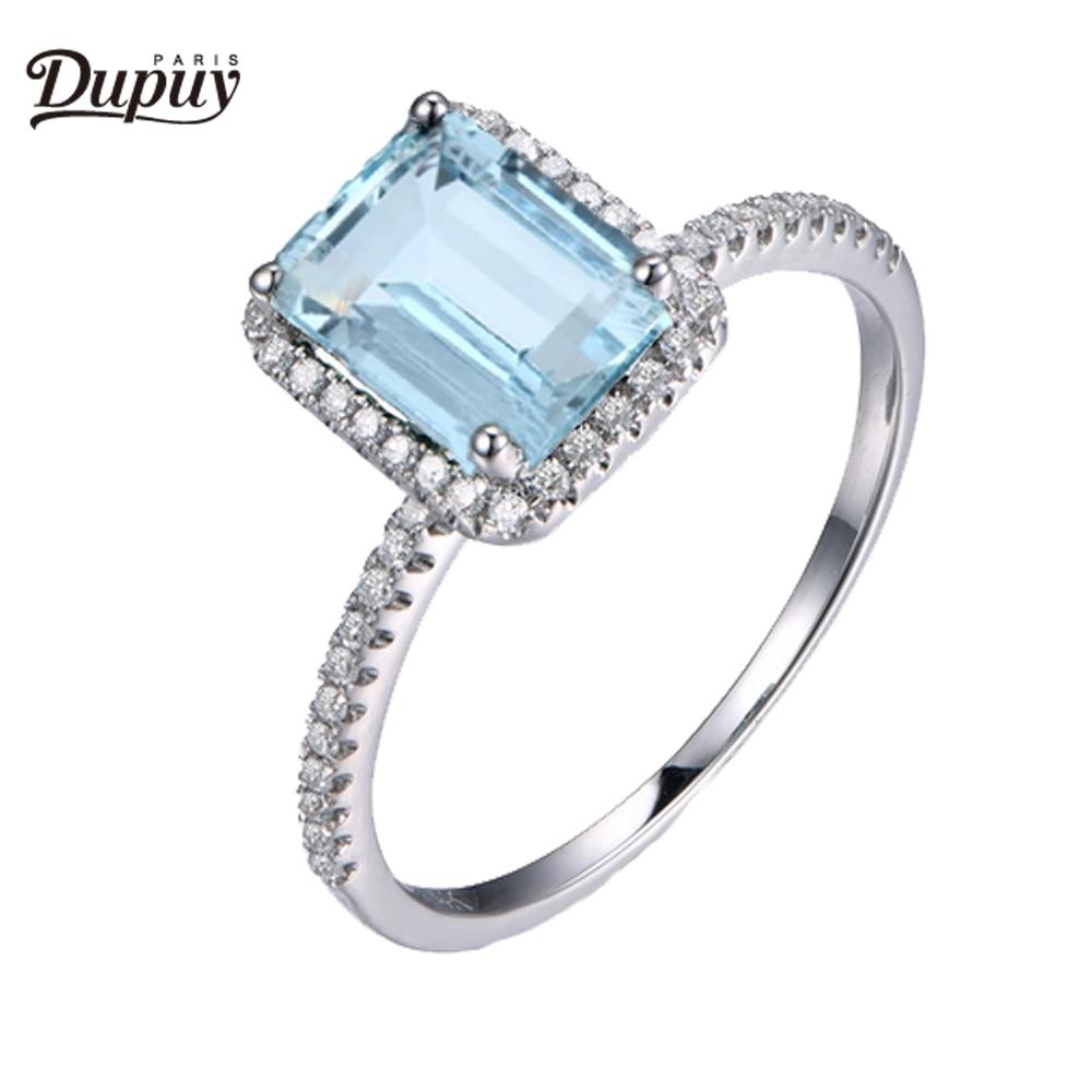 DUPUY Natural 6*8mm Esmeralda corte aguamarina anillo diamantes Halo media eternidad diamante apilable anillo de compromiso 14K oro rosa anillo