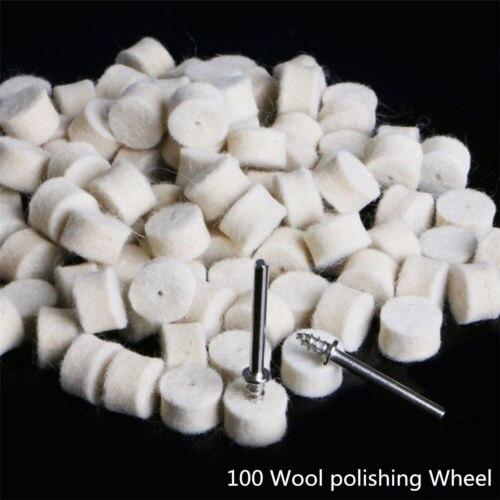 100 pçs 13mm feltro de lã polimento almofada de polimento + 2 haste para dremel rebolo