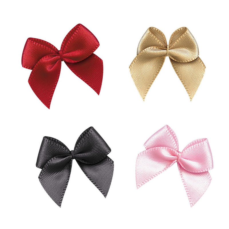 50 Uds mano cinta satén moños DIY Craft Supplie decoración del banquete de boda regalo embalaje Bowknots costura sombreros accesorios apliques