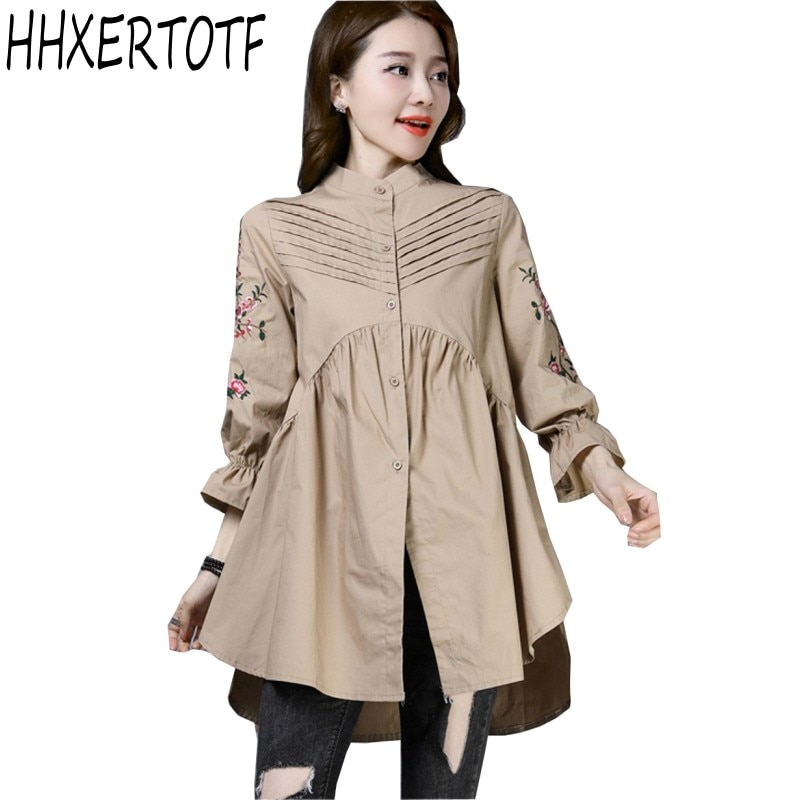 2019 primavera otoño nueva Blusa de manga larga de talla grande para mujer camisa holgada bordada de largo medio parte superior con una botonadura