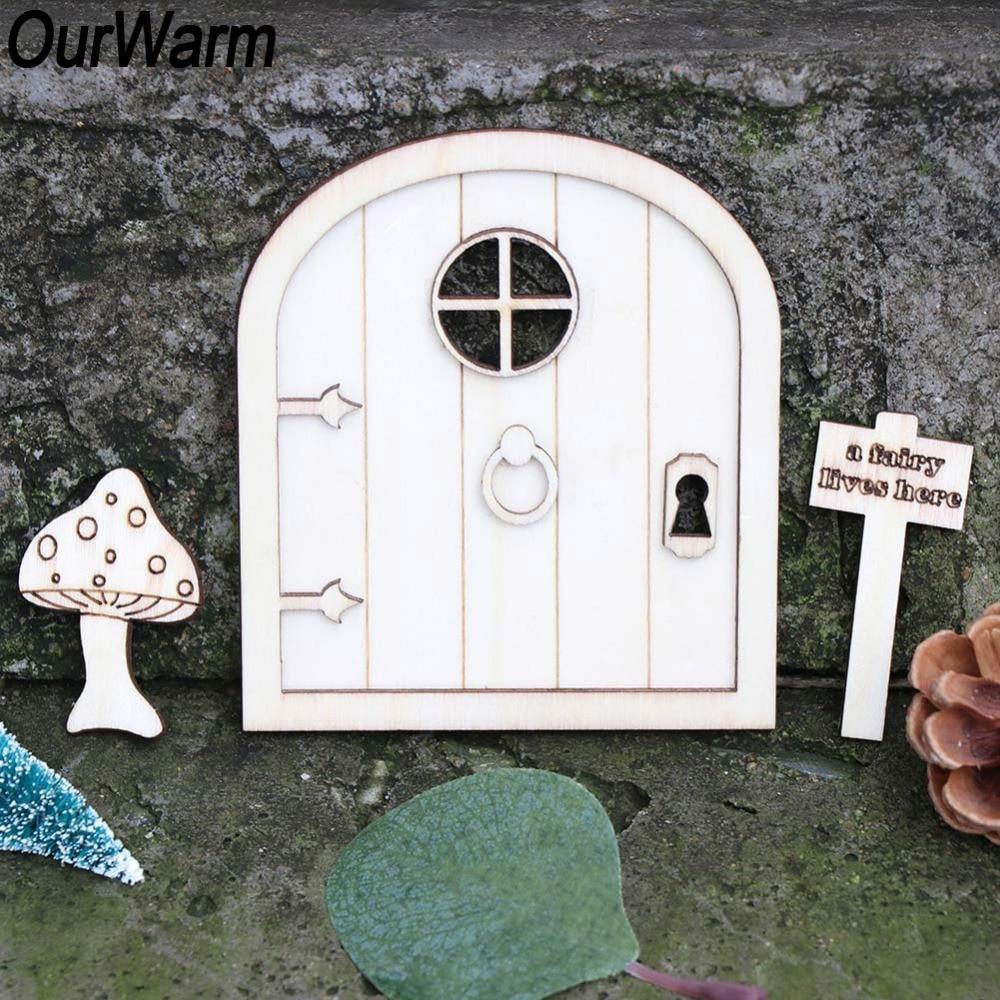 OurWarm 6Pcs Wooden Fairy Garden Door Craft Elf Craft DIY Favor Miniature Fairy Garden Signs DIY Vintage Home Decor Hobby Gifts