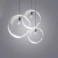 Clear Glass Ball Lamp Chandelier Black Transparent Glass Dining Hall Lamp Creative Modern Restaurant bar bedroom lamp