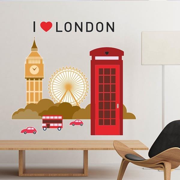 I Love London UK England Landmark Flag Illustration Pattern Removable Wall Sticker City Buildings Art Decals Mural DIY Wallpaper