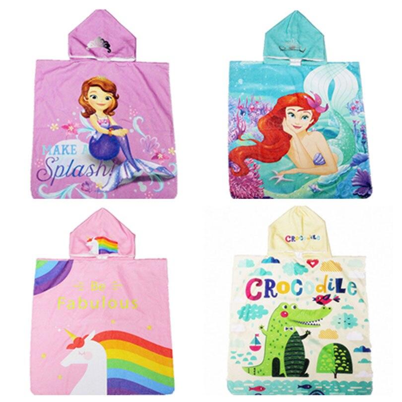 Elsa princesa menina com capuz praia unicórnio bebê roupão de banho de verão chuveiro toalhas crianças natação poncho capa cobertor toalla minnie