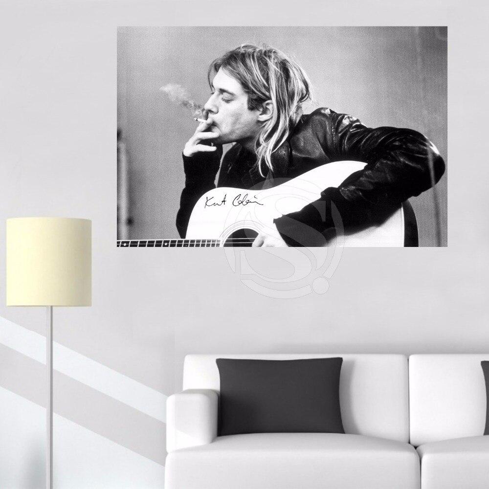 Póster de tela de lienzo personalizado con diseño de ojo de kurt Cobain Smoking, póster de tela DIY para pared, póster de seda para cuadros para la pared del salón