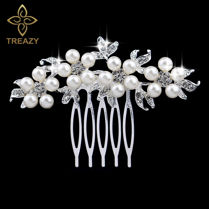 AliExpress - TREAZY Fashion Pearl Crystal Wedding Hair Jewelry Charm Floral Bridal Hair Combs Women Party Hairpins Wedding Hair Accessories